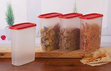 Tupperware Shelf savers for storing snacks, grains.